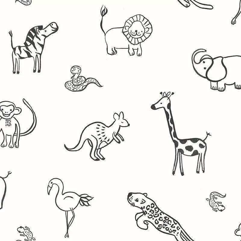 Kedves afrikai állat mintás gyerek tapéta fekete fehér színvilágban
