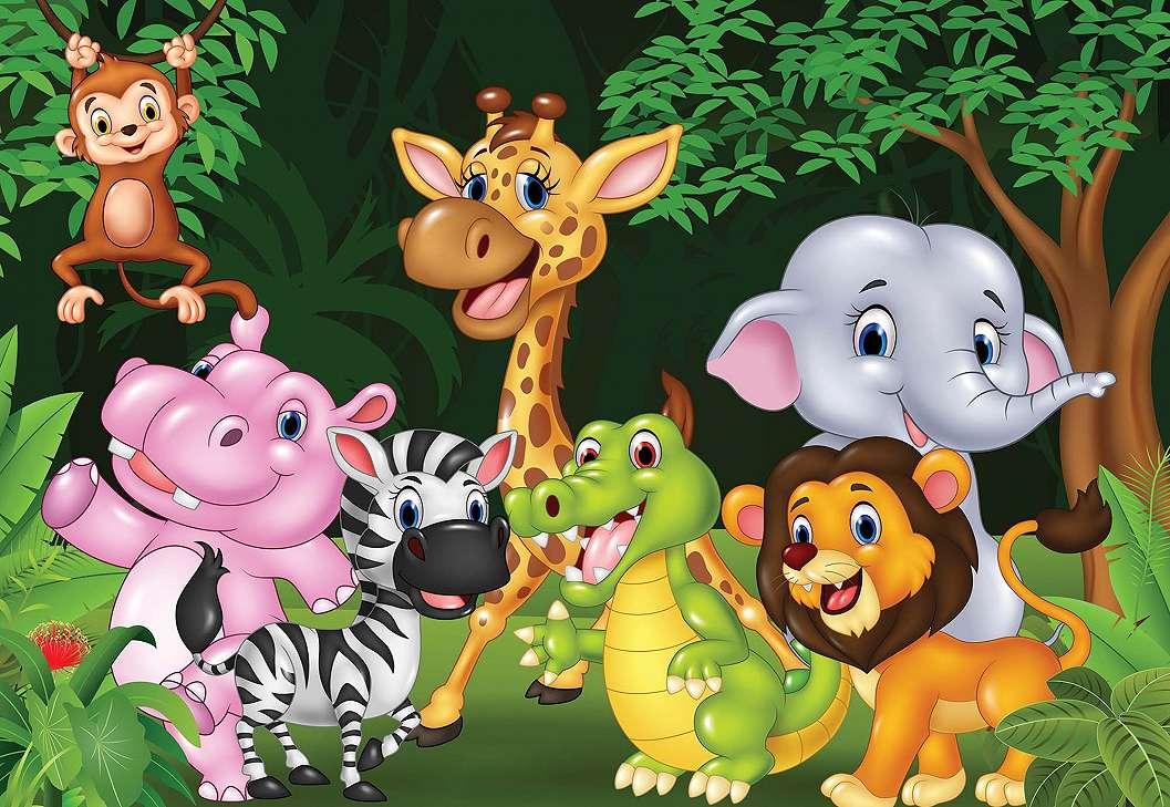 Kedves afrikai baby állatok elefánt zsiráf fali poszter