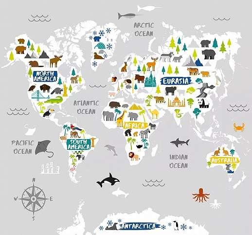 Kedves állat mintás világtérkép mintás vlies fali poszter gyerekeknek