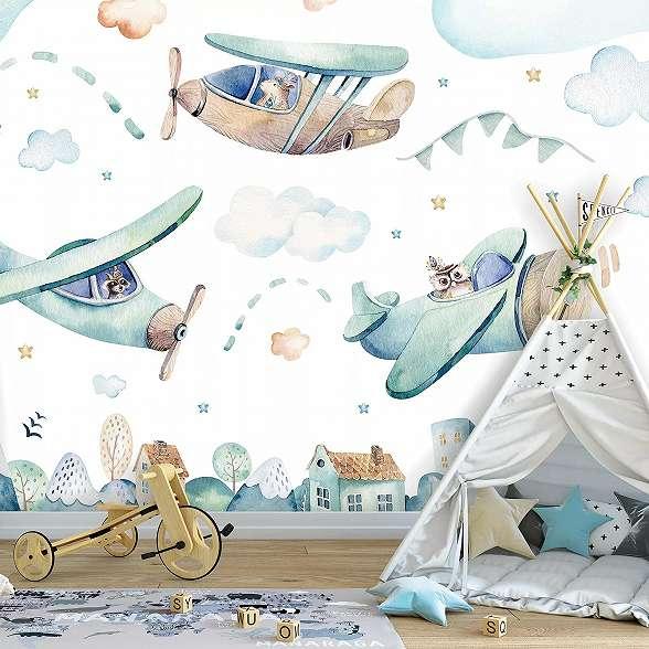 Kedves rajzolt stílusú repülő mintás gyerekszobai fali poszter
