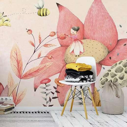 Kedves rajzolt virágmintás gyerekszobai fali poszter