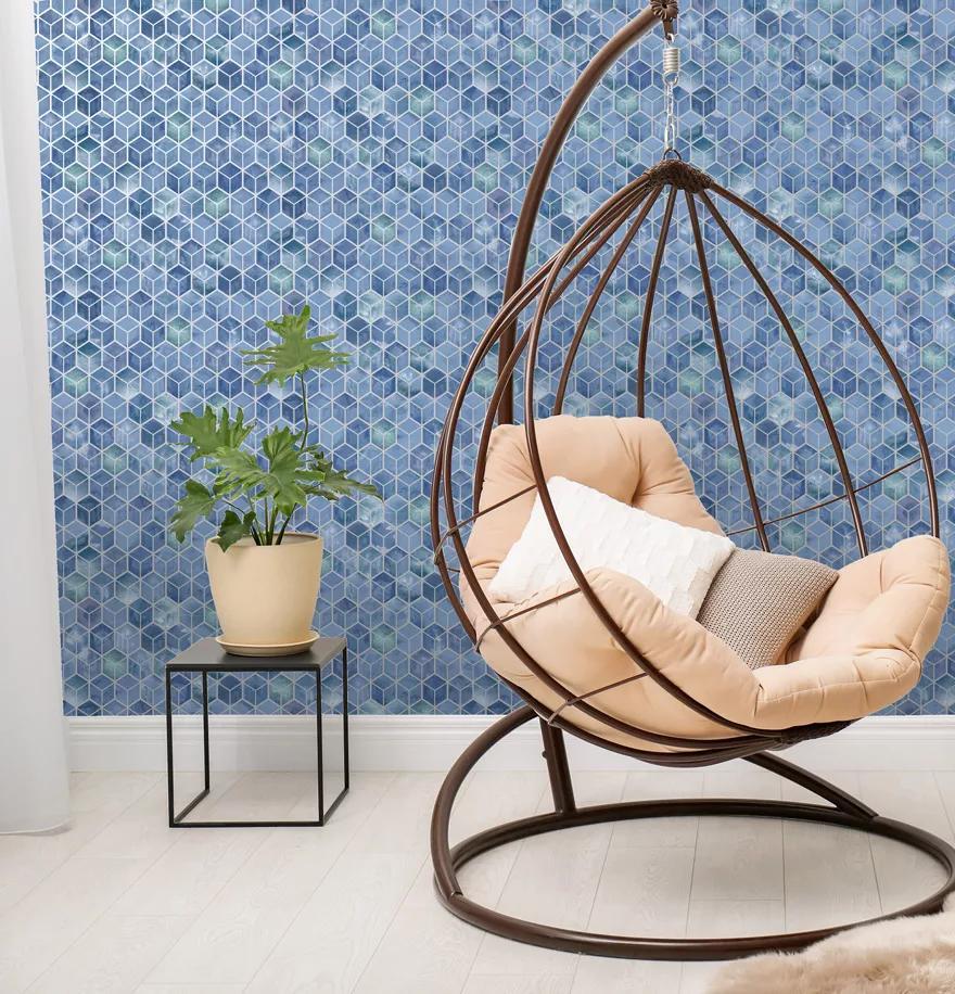 Kék 3D geometrikus mintás modern vlies design tapéta