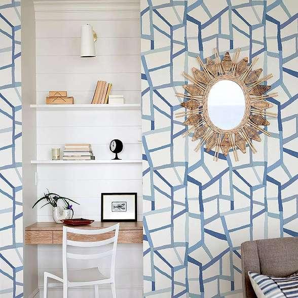 Kék absztrakt geometrikus mintás skandináv stílusú vlies prémium tapéta