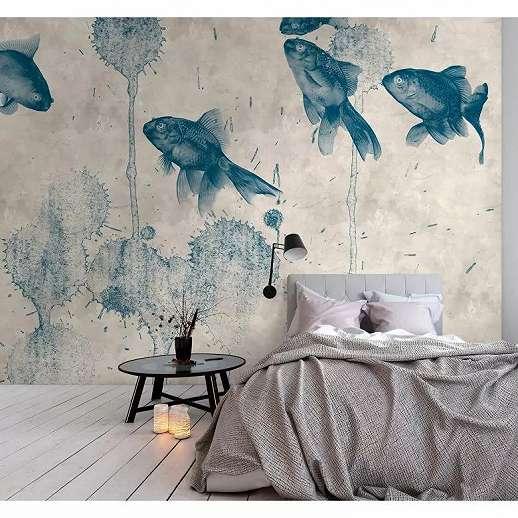 Kék akvarell hatású koi ponty mintás fali poszter