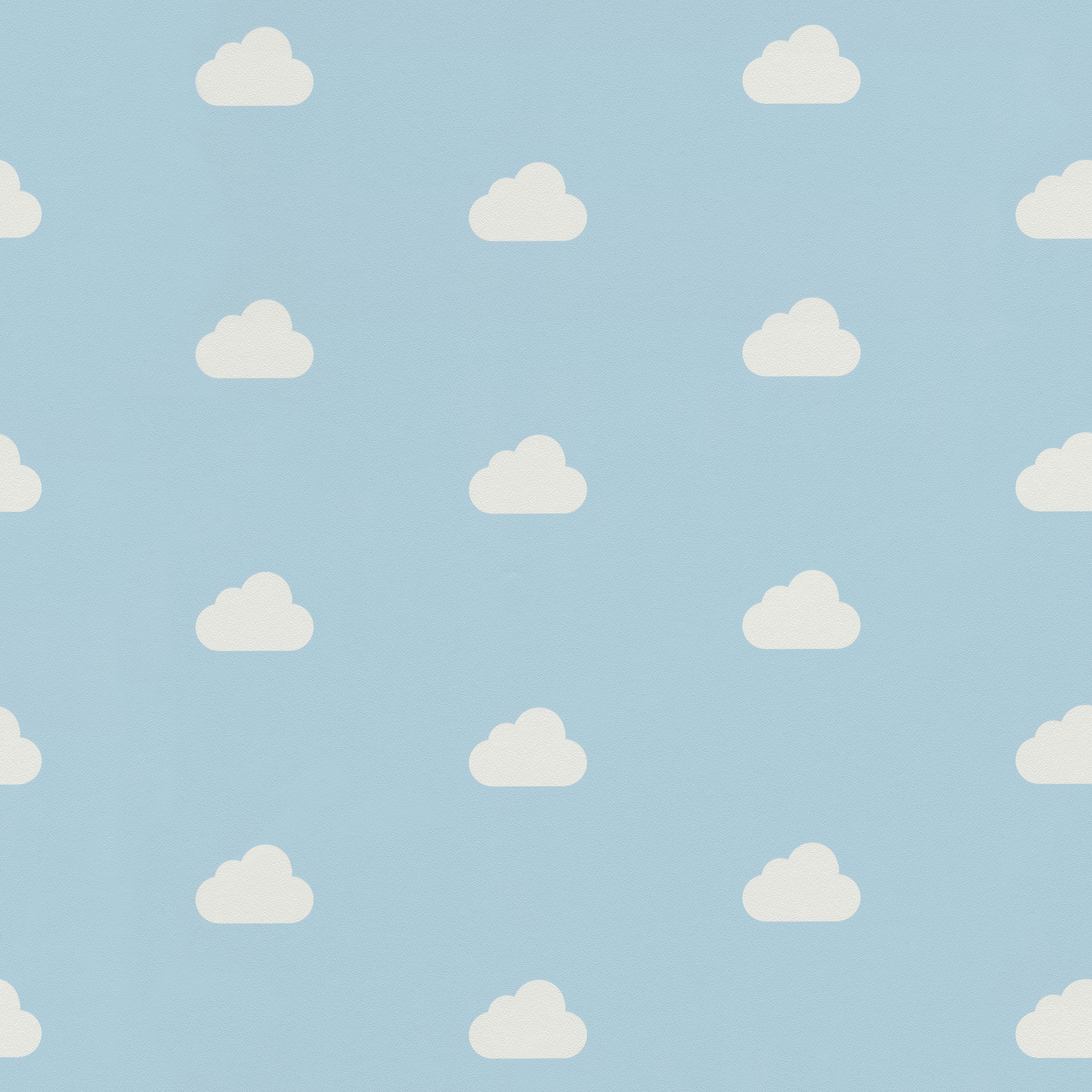 Kék alapon felhő mintás gyerek tapéta
