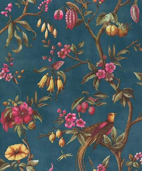 Kék alapon klasszikus virág és pillangó mintás romantikus tapéta