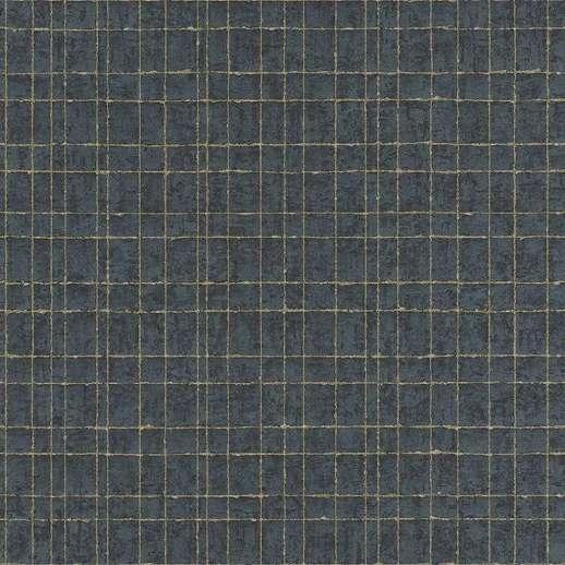 Kék alapon metál fényű kockás mintás vlies design tapéta