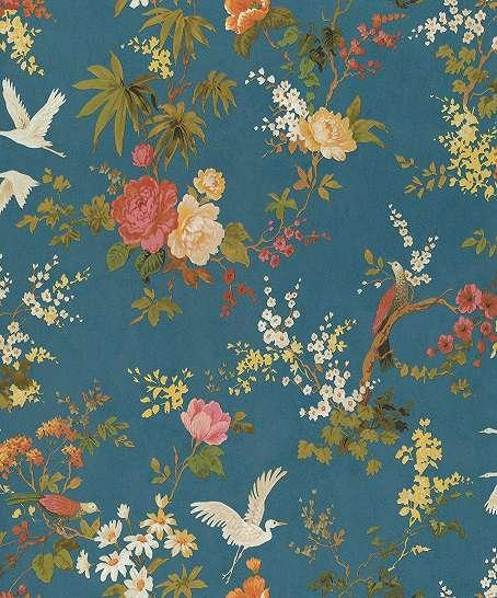 Kék alapon népies madár és virág motívumos vlies design tapéta