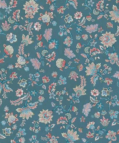 Kék alapon romantikus népies stílusú virágmintás vlies design tapéta