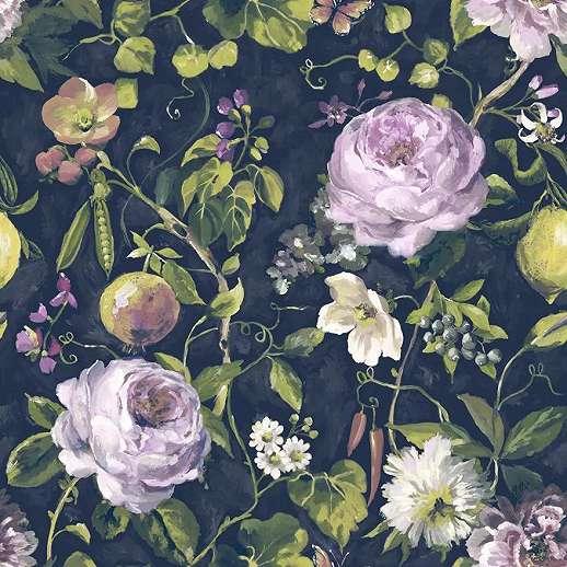 Kék alapon romantikus virágmintás vlies design tapéta festmény hatással