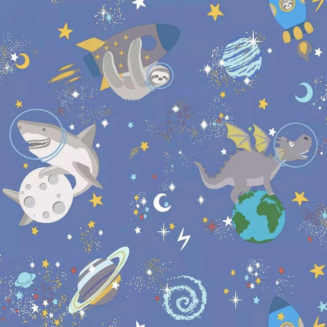 Kék alapon sárkány, bolygó, csillag mintás dekor gyerektapéta