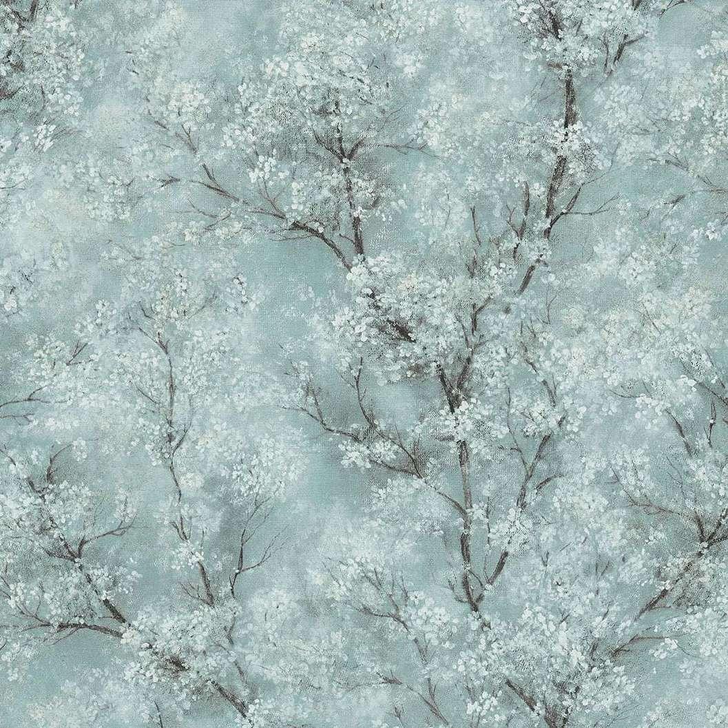 Kék alapon vintage hangulatú faág mintás vlies tapéta