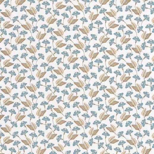 Kék apró levél, virágmintás orientális hangulatú vlies tapéta