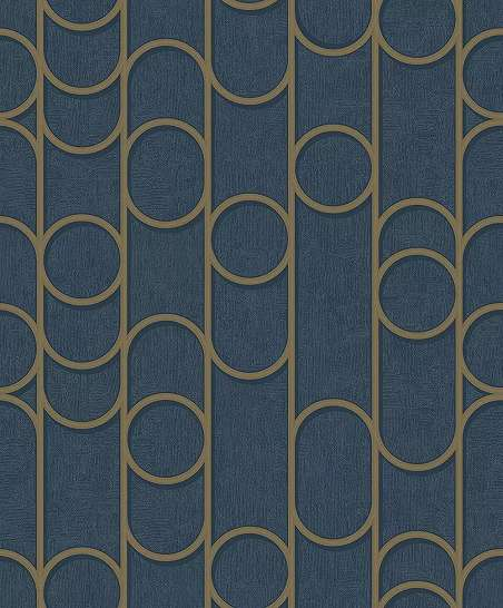 Kék arany elegáns vlies tapéta kör geometrikus mintával