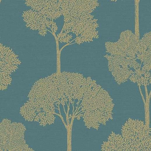 Kék arany minimalista erdei fa mintás dekor tapéta