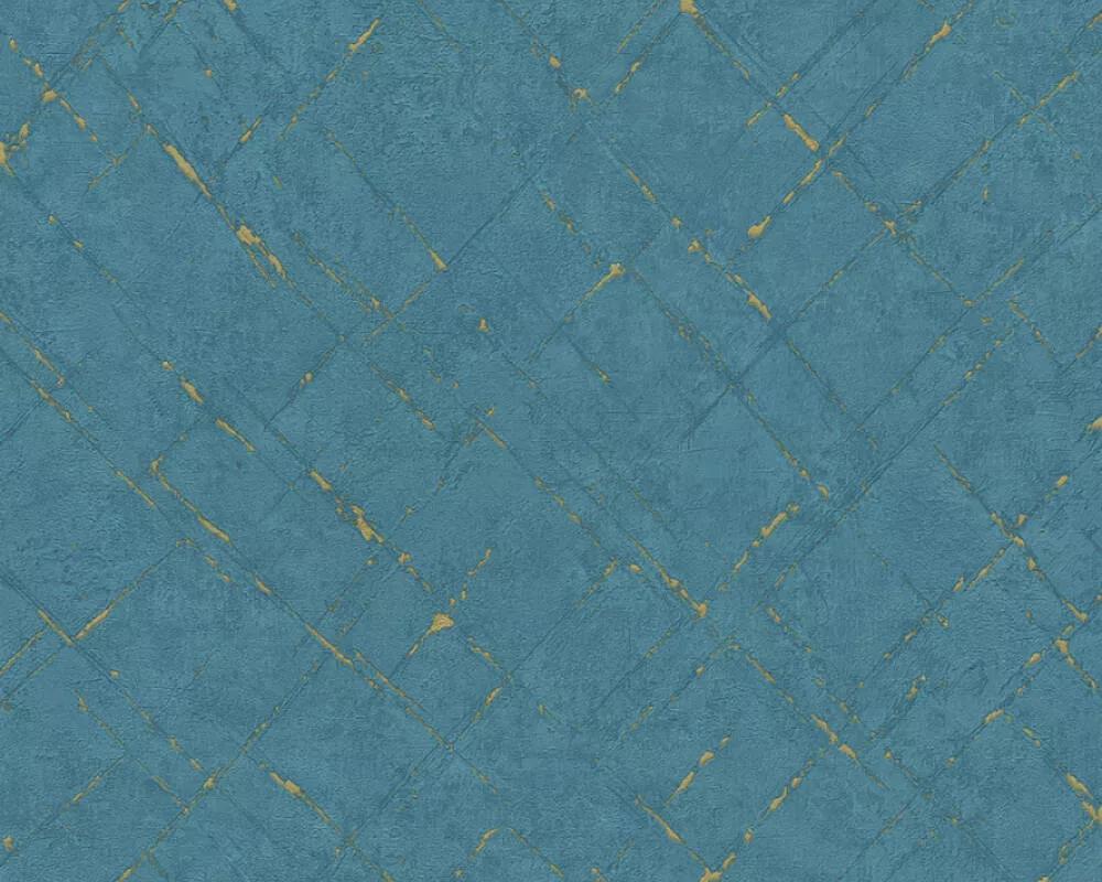 Kék arany modern geometriai mintás struktúrált tapéta