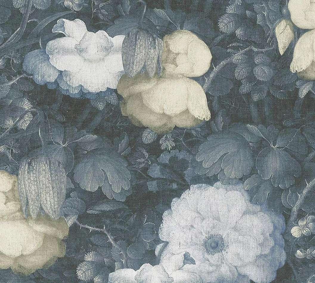 Kék barokk stílusú virág mintás tapéta