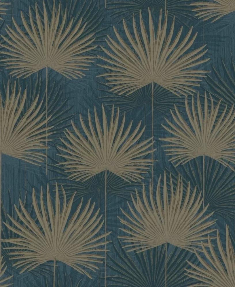 Kék botanikus pálmalevél mintás tapéta metál fényű felület effekttel