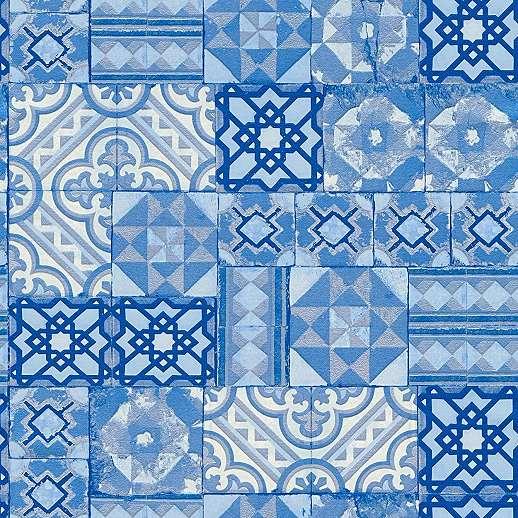 Kék csempe mintás tapéta