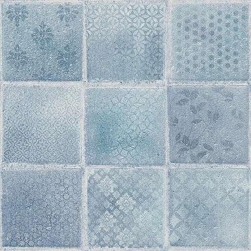 Kék csempe mintás vintage hangulatú mosható vinyl tapéta