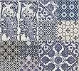 Kék Csempe mintás vlies tapéta orientális, madár mintával