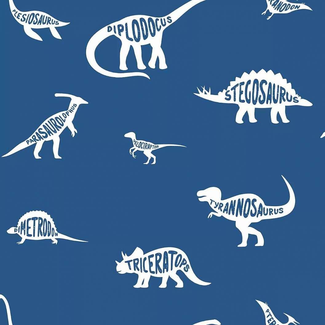 Kék dinoszaurusz mintás tapéta gyerekszobába