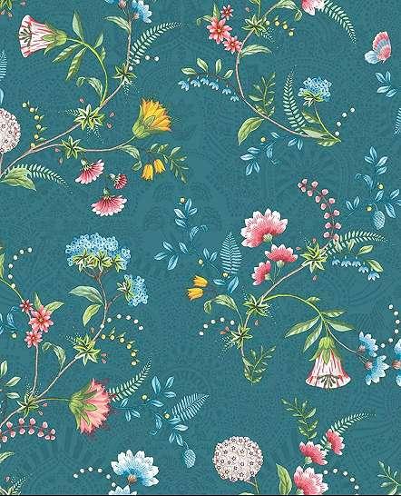 Kék Eijffinger tapéta vintage hangulatú virágmintával