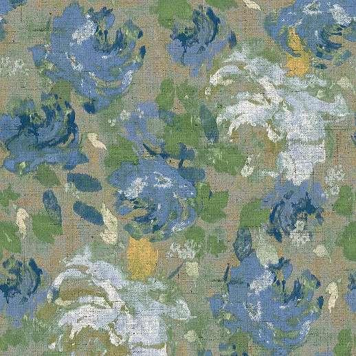 Kék elegáns akvarell hatású virágmintás vlies desig tapéta