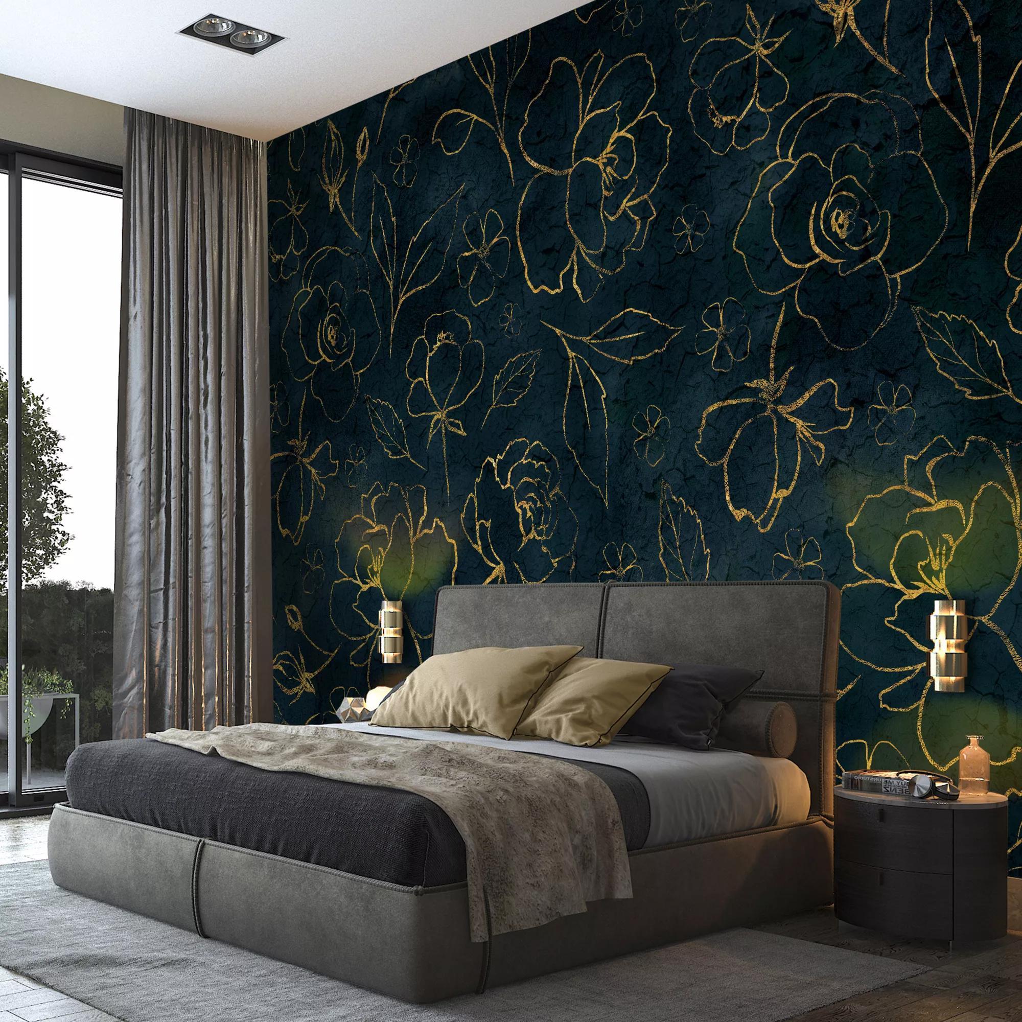 Kék elegáns virágmintás fali poszter