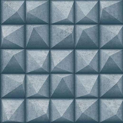 Kék enyhén fényes metál felületű betonhatású vlies vinyl dekor tapéta