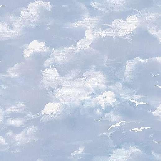 Kék festett hatású felhő mintás habos papír tapéta