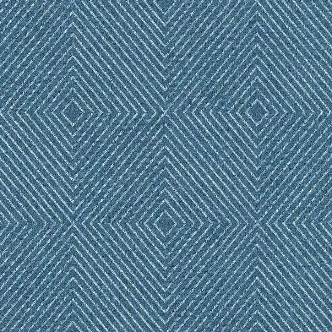Kék geometriai mintás tapéta vékony csíkos mintával