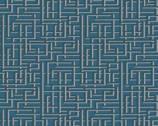 Kék geometrikus mintás viles tapéta, sürű, apró mintával