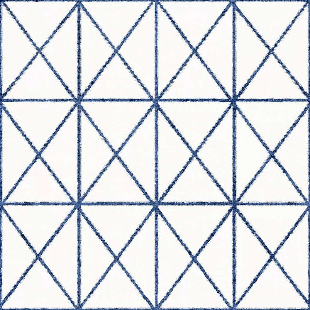 Kék geometrikus mintás vinyl tapéta háromszög geometrikus minával