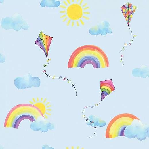Kék gyerektapéta felhő és szivárvány mintával