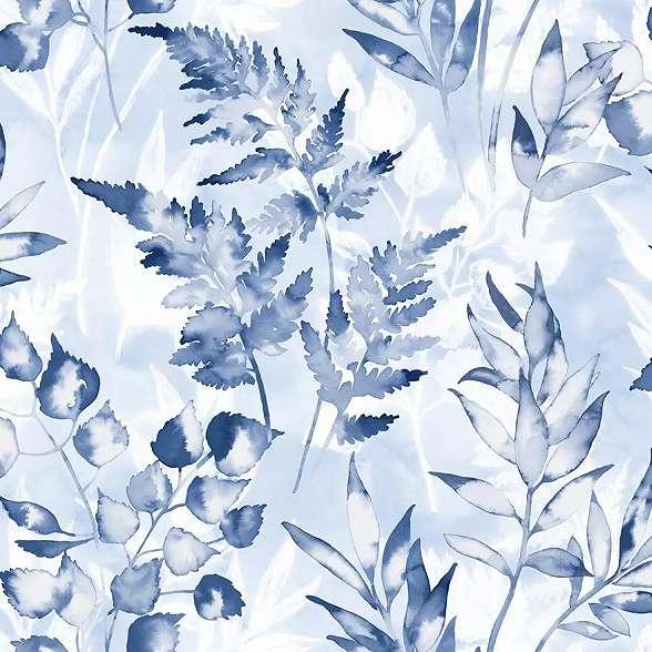 Kék levélmintás vlies tapéta akvarell festett hatással