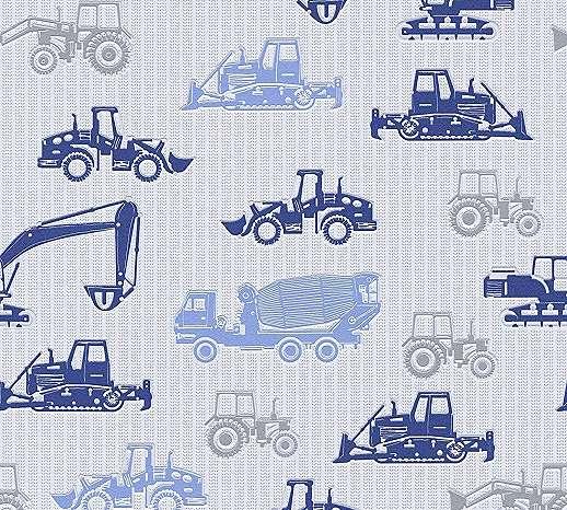 Kék markolós traktoros gyerektapéta