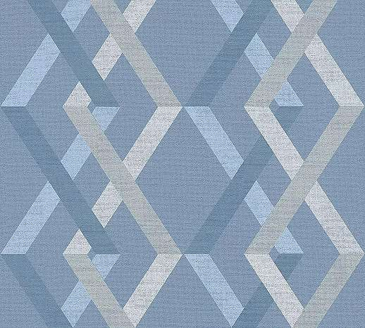Kék modern geometrikus mintás vlies tapéta csíkos geometriai mintával