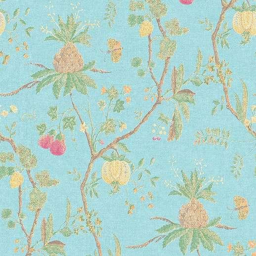 Kék modern trópusi virágmintás vlies tapéta