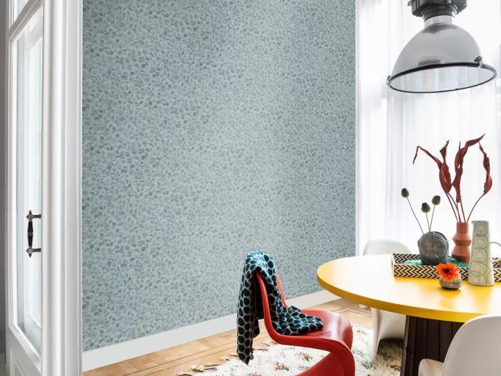 Kék művészi kagyló mintás vlies design tapéta
