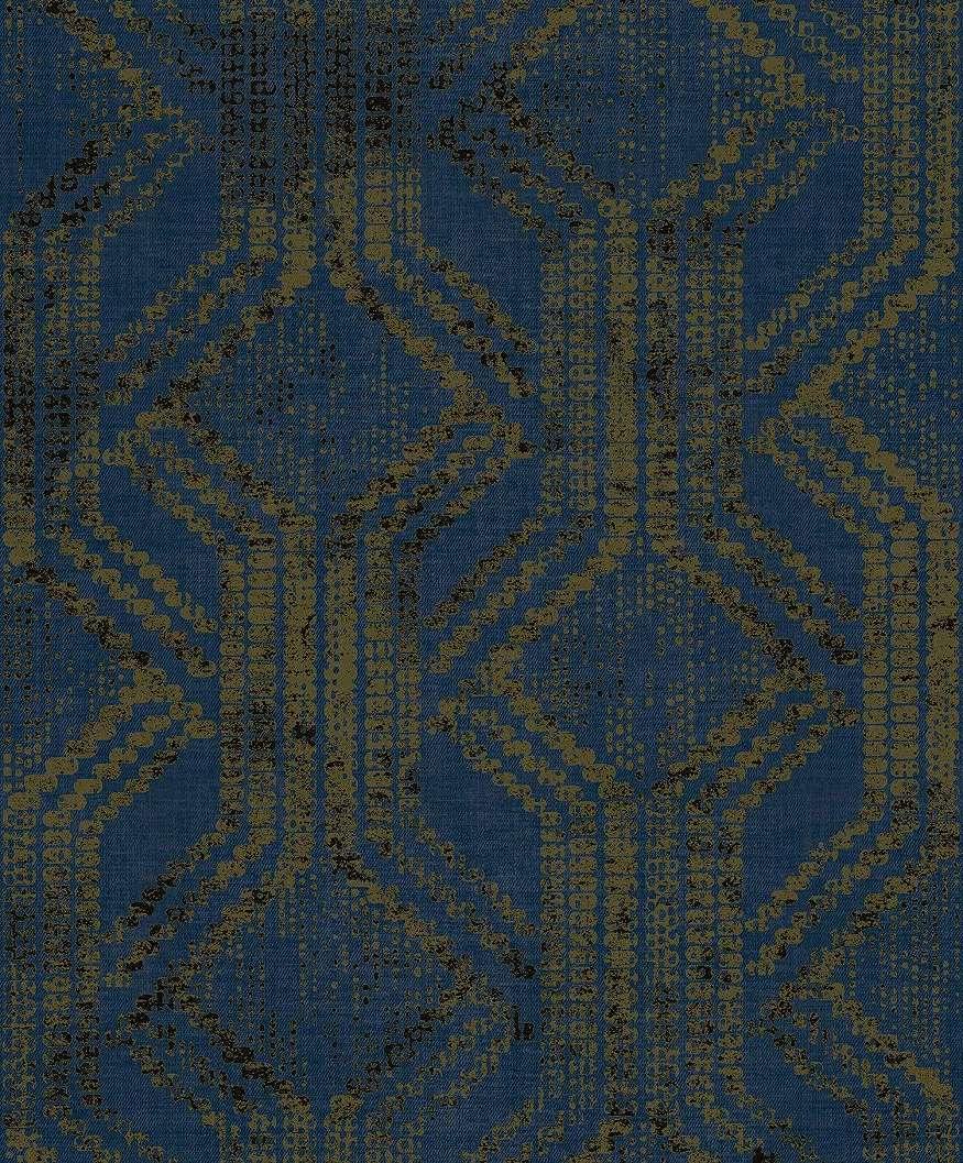 Kék népies stílusú geometrikus mintás exkluzív tapéta
