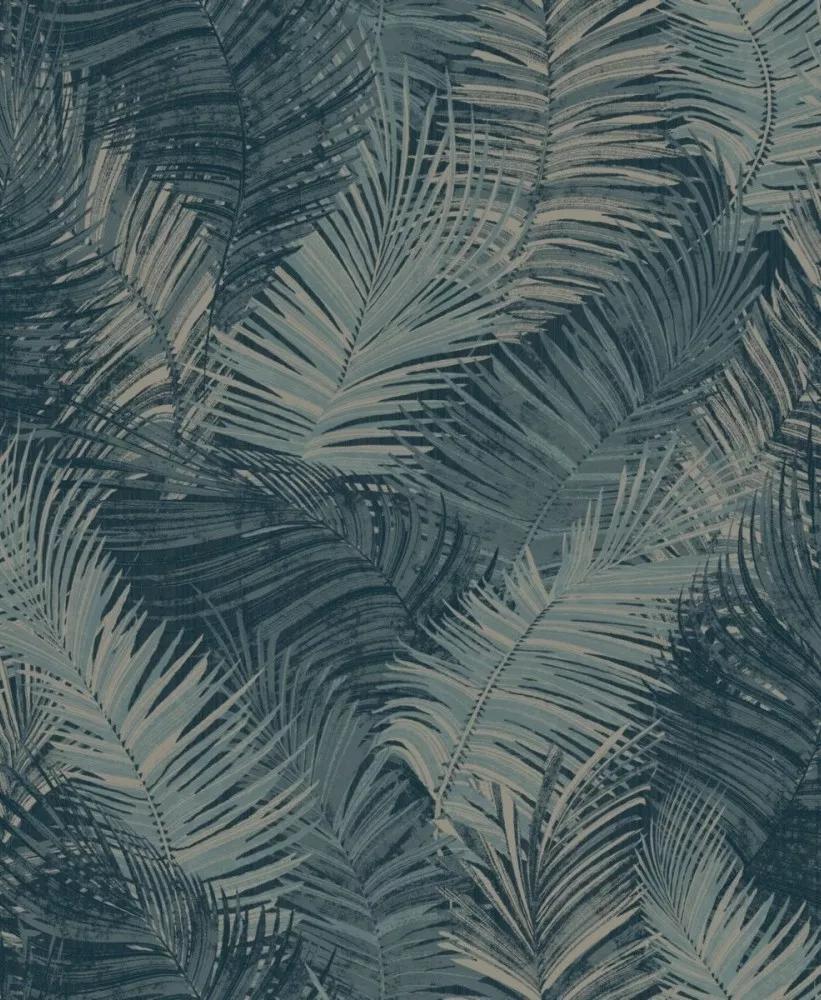 Kék pálmalevél mintás vlies dekor tapéta