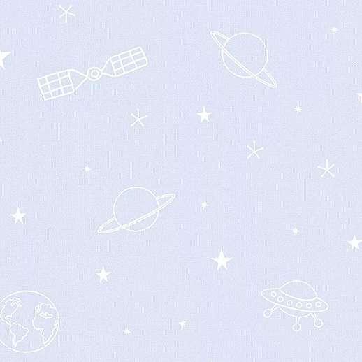 Kék rajzolt stílusú űrhajós bolygós gyerektapéta