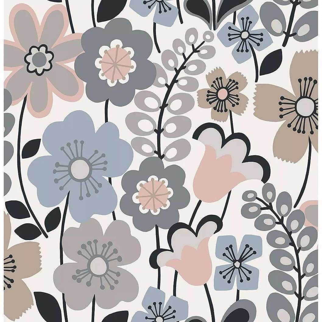 Kék rózsaszín skandináv stílusú tapéta virágmintával