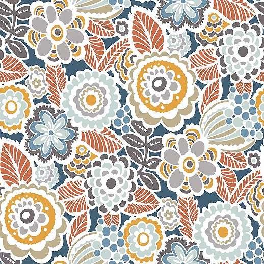 Kék sárga romantikus virágmintás vlies tapéta skandináv stílusban