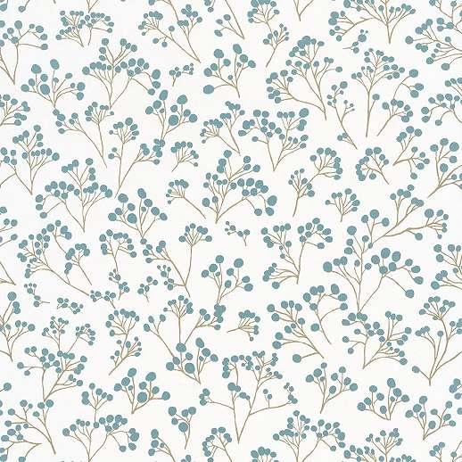 Kék skandináv stílusú virágmintás vlies vinyl mosható felületű tapéta