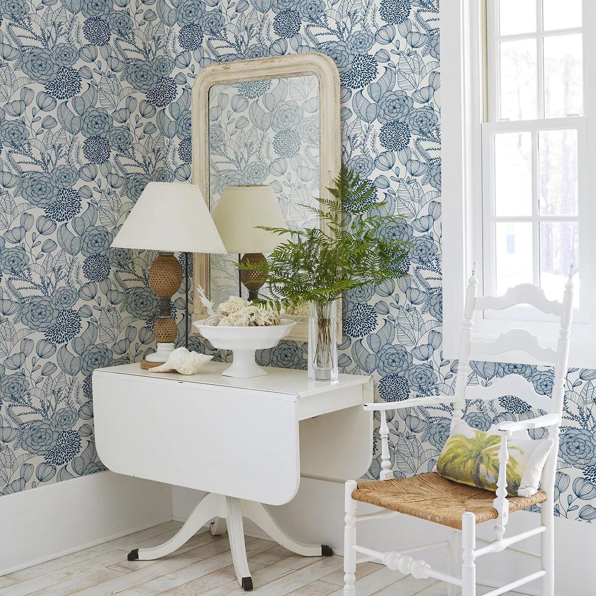 Kék skandináv stílusú vlies virágmintás prémium tapéta