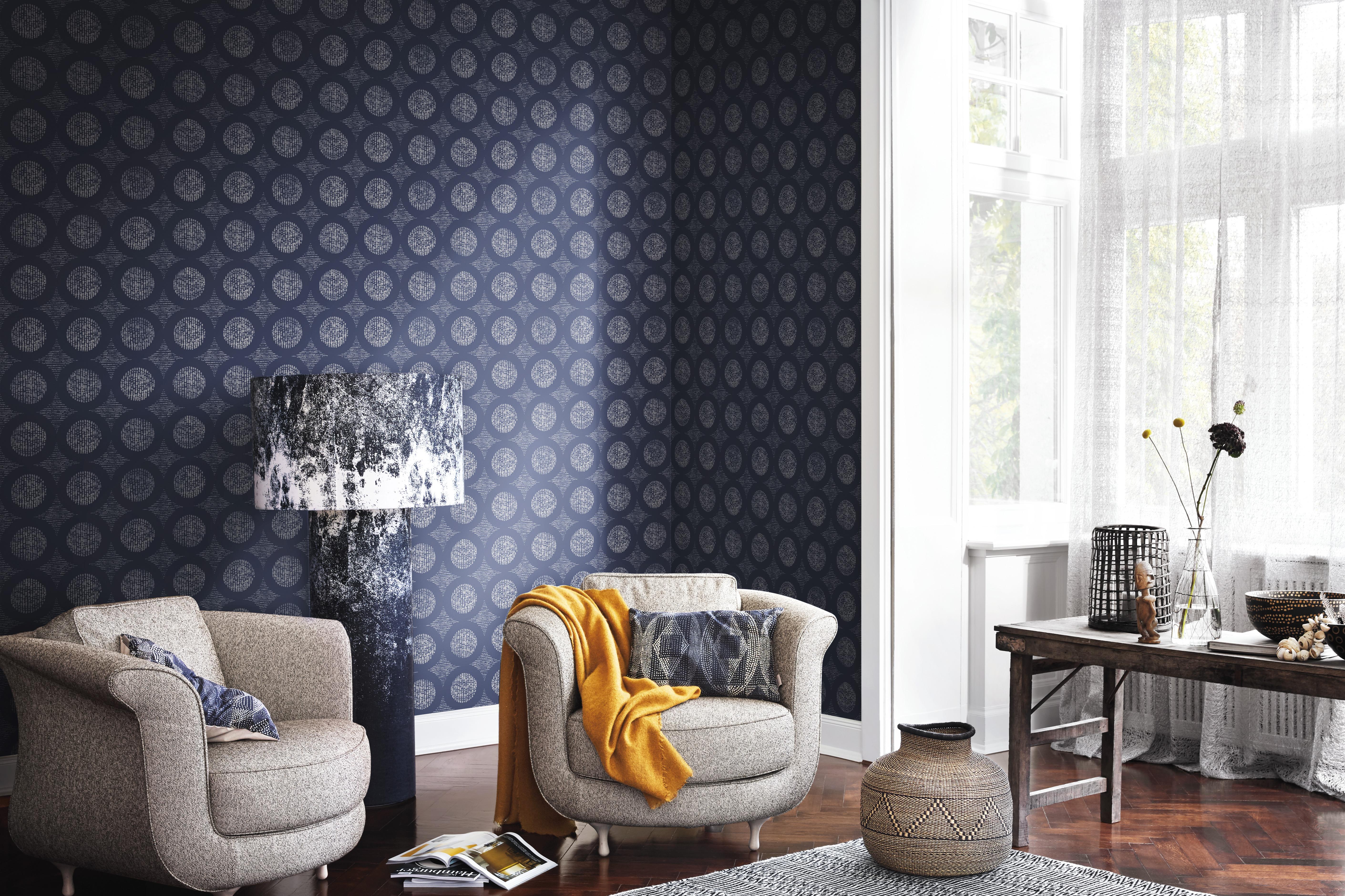 Kék színű design korongok mintás tapéta