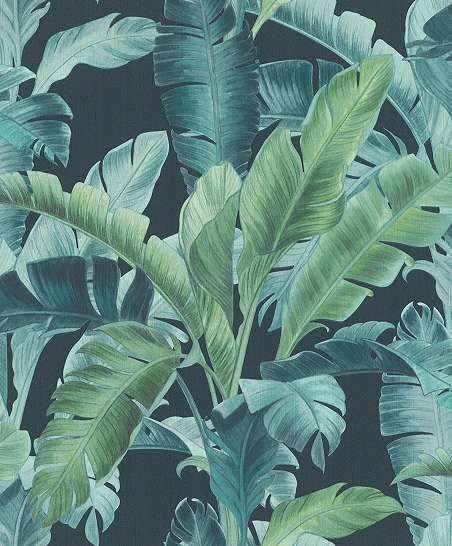 Kék színű trópusi levélmintás modern dekor tapéta