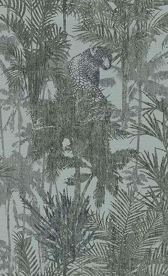 Kék színvilágban leopárd, trópusi mintás trendi vlies tapéta
